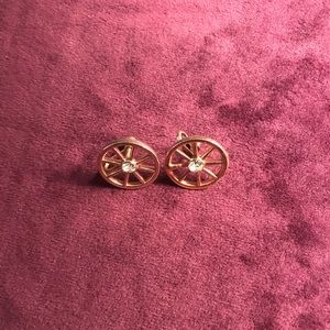 Wagon Wheel Clip/Screw On Earrings - Gold Tone